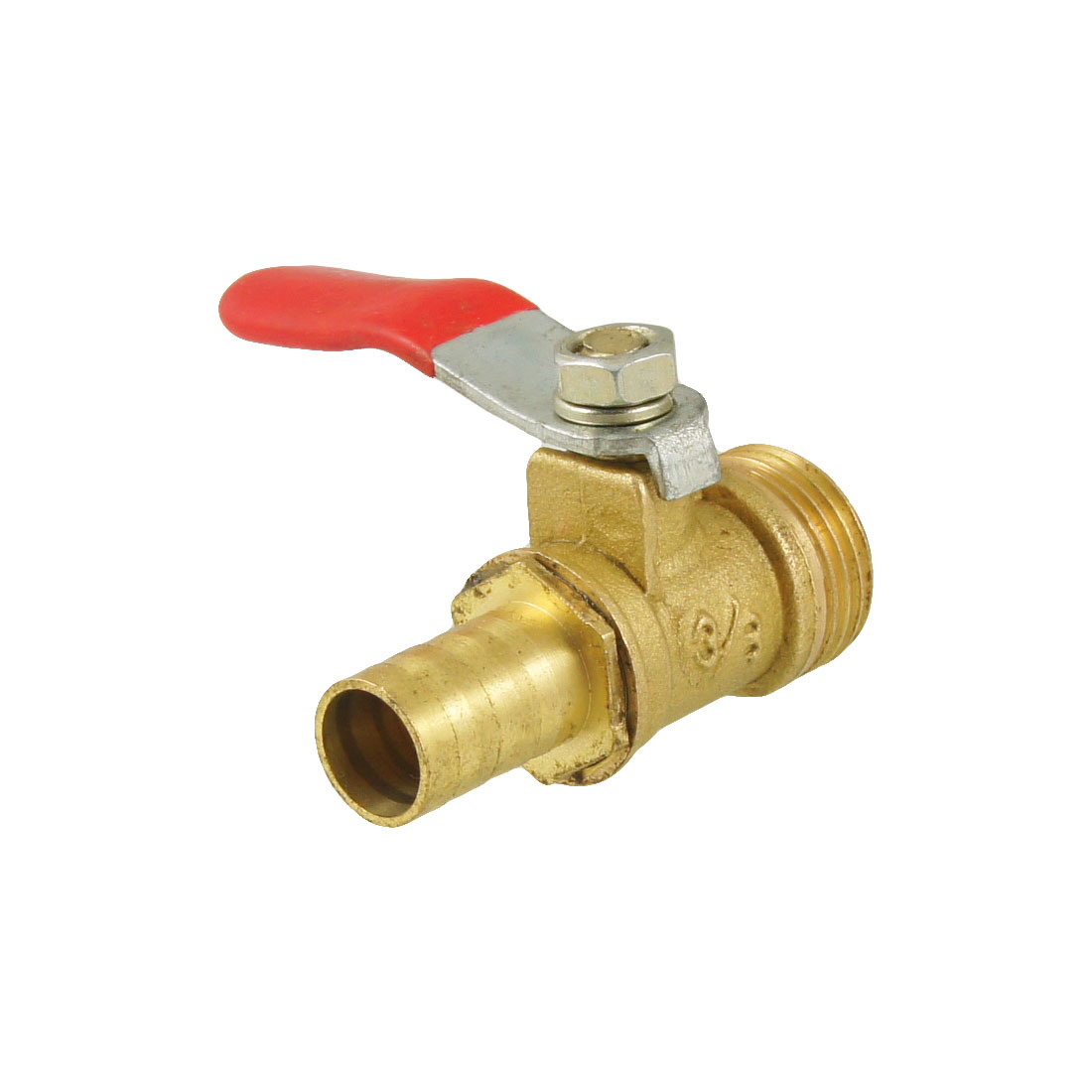 "3/8"" Male Thread To 10mm Hole Tail Pneumatic Ball Valve Red Gold Tone"
