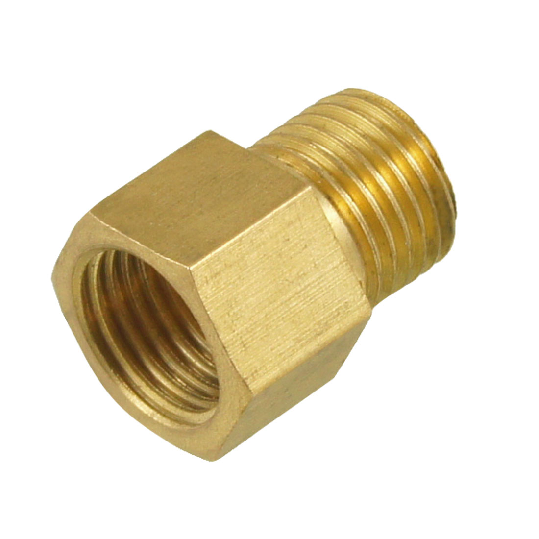 "1/4"" PT To 1/4"" PT Brass Hex Thread Bushing Connector Gold Tone"
