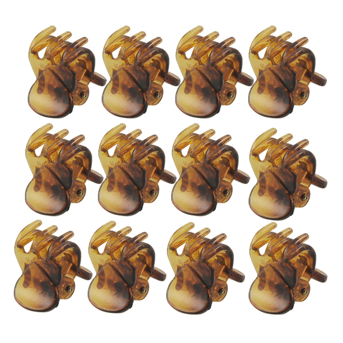 Girl DIY Plastic Hairstyle Decoration Hair Jaw Claws Clip Barrette Brown 12 Pcs