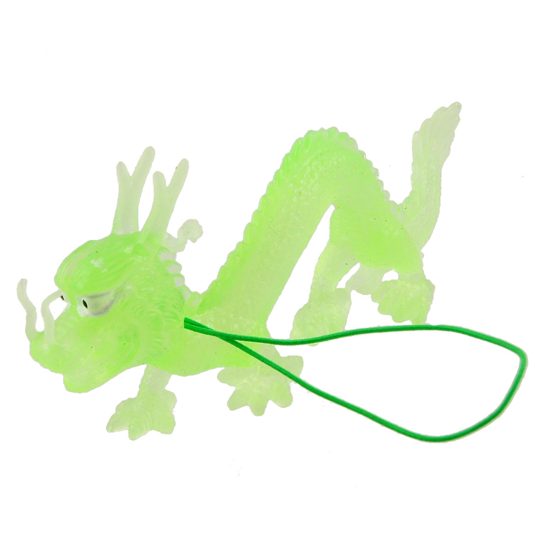 "4.7"" Long Soft Green Silicone Emulational Dragon Shaped Toy Decor Pendant"