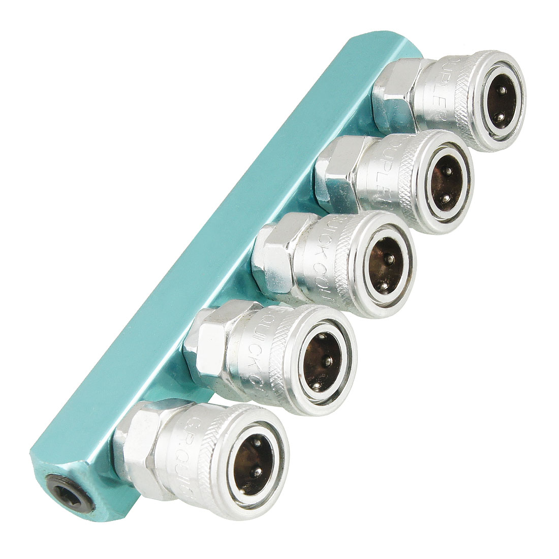Silver Tone Sky Blue Piping Fitting 5 Way Air Hose Multi Pass Quick Coupler