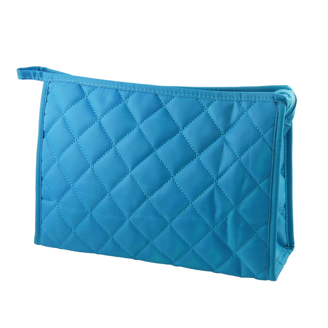 "10.6"" Long Grid Pattern Rectangle Shape Makeup Zipper Bag Light Blue for Ladies"