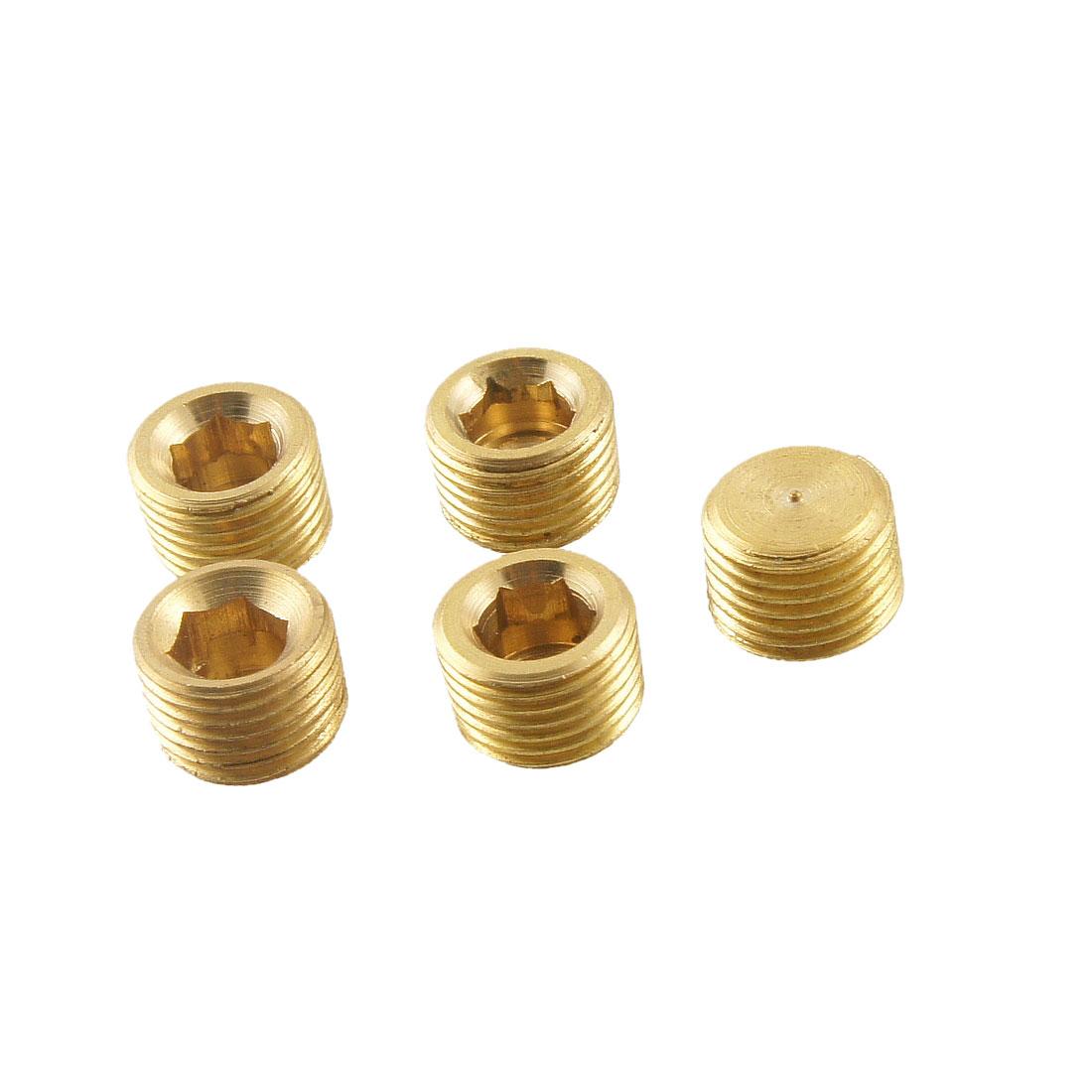 5 Pcs Metal Internal Hex Head Socket 9.5mm Thread Diameter Pipe Connector Fitting