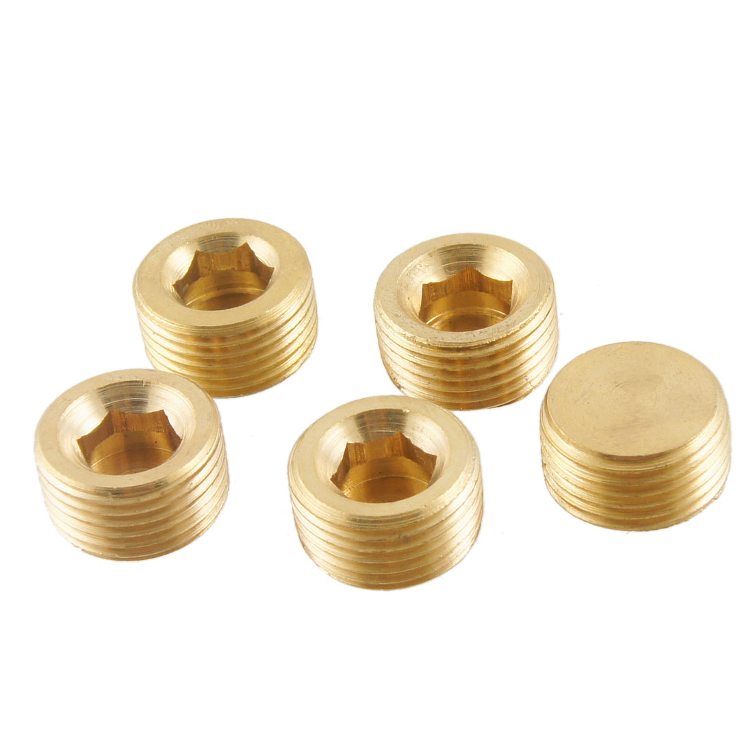 "5 Pcs Brass Internal Hex Head Socket 3/8"" PT Thread Pipe Plug Fitting"