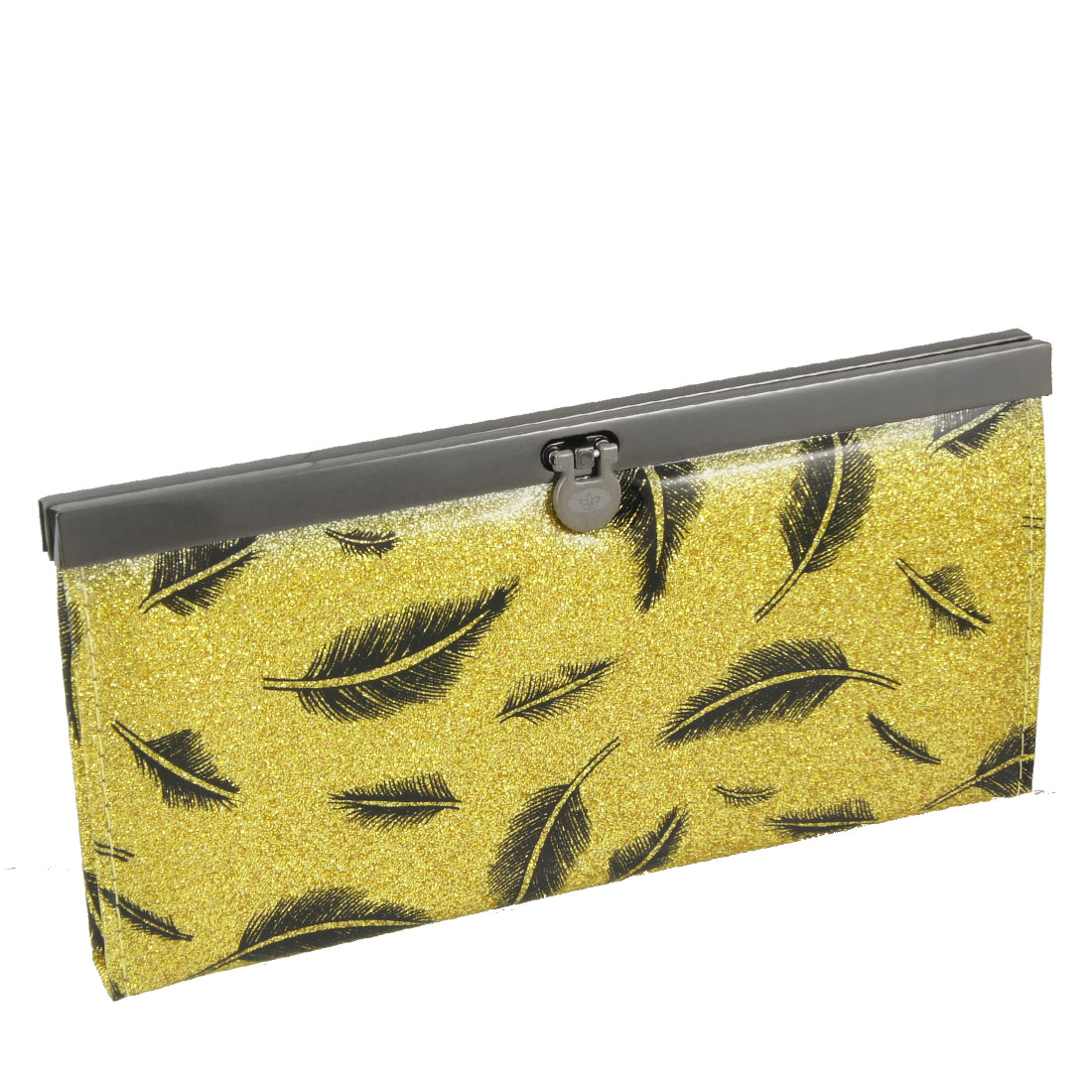 Black Feathers Prints Gold Tone Glitter Powder Decor Faux Leather Clutch Wallet
