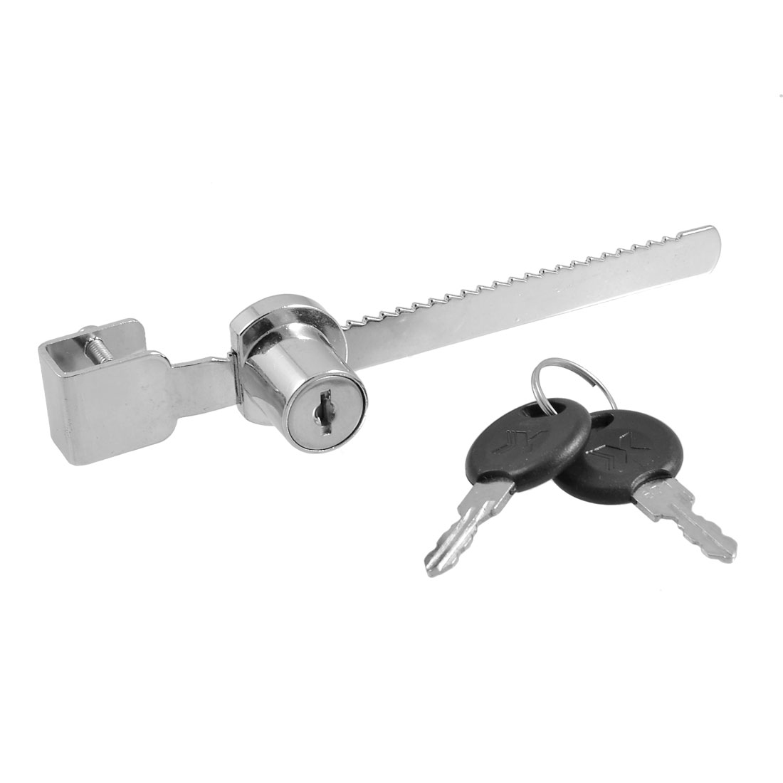 Serrated Design Silver Tone Metal Glass Show Case Window Lock w Two Keys