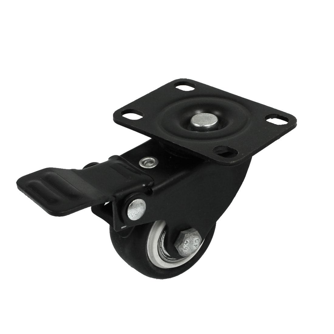 """1.6"""" Diameter Single Wheel Swivel Top Plate Light Duty Caster Black"""