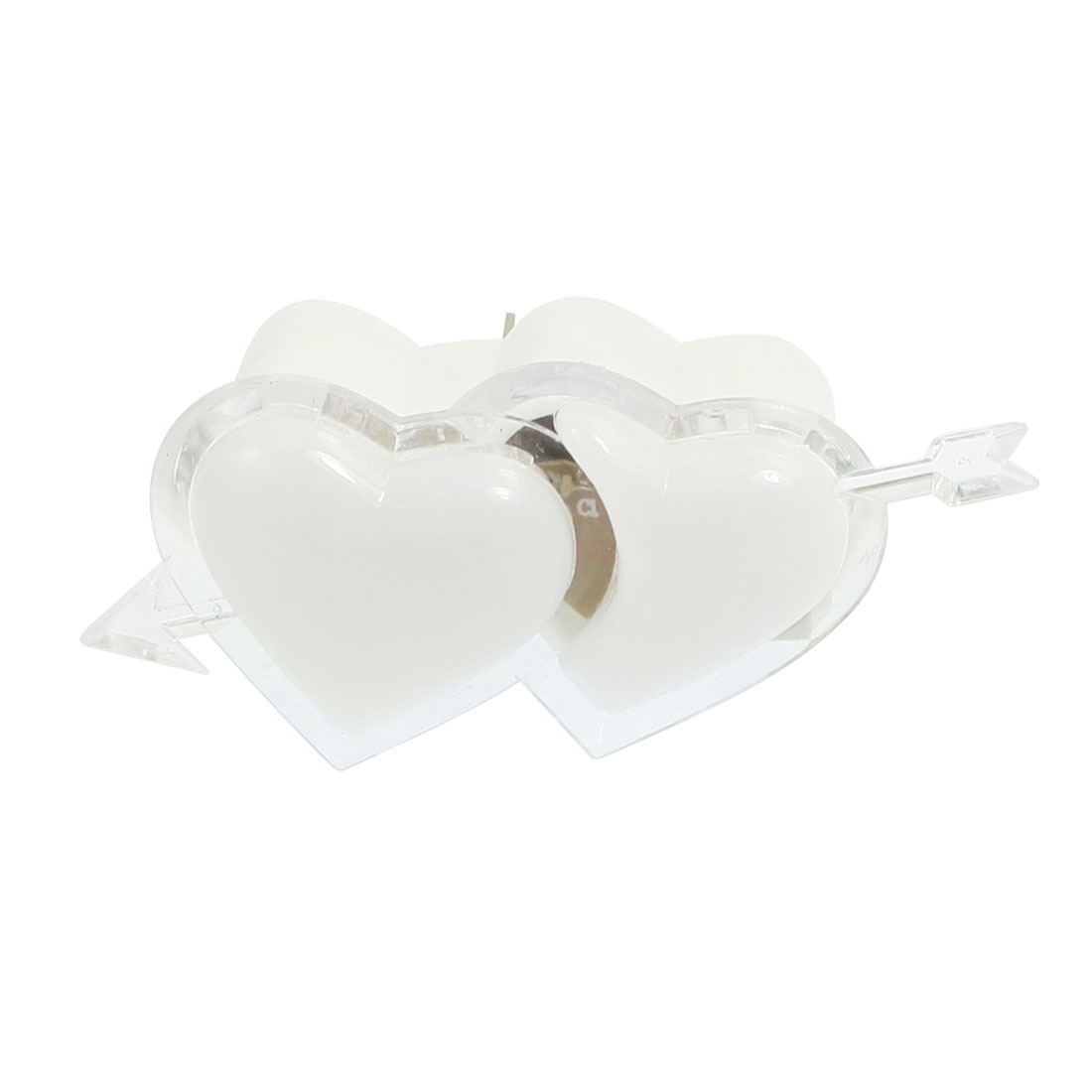 Arrow Cross Double Heart Shaped White Night Light Lamp 110-250V US Plug