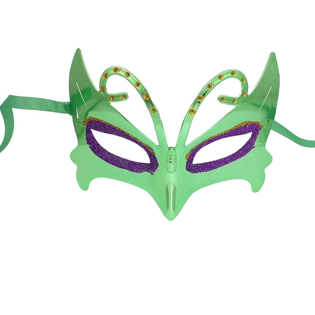 Purple Yellow Glittery Powder Detail Self Tie Party Eye Mask Green