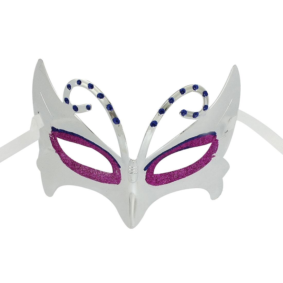 Magenta Blue Glittery Powder Decor Self Tie Party Eye Mask Silver Tone