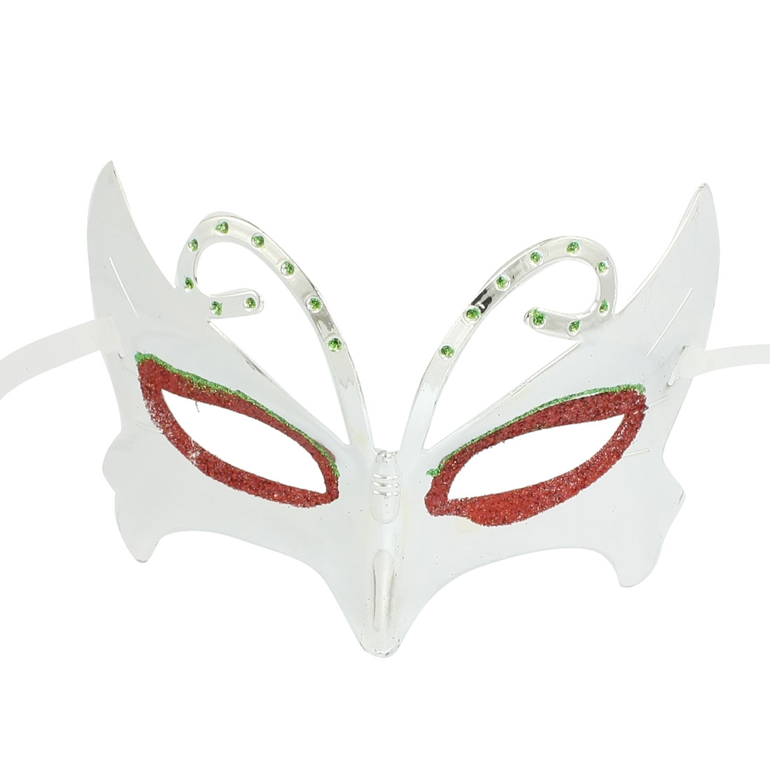 Glittery Powder Red Eyes Decor White Self Tie Party Eye Mask Silver Tone