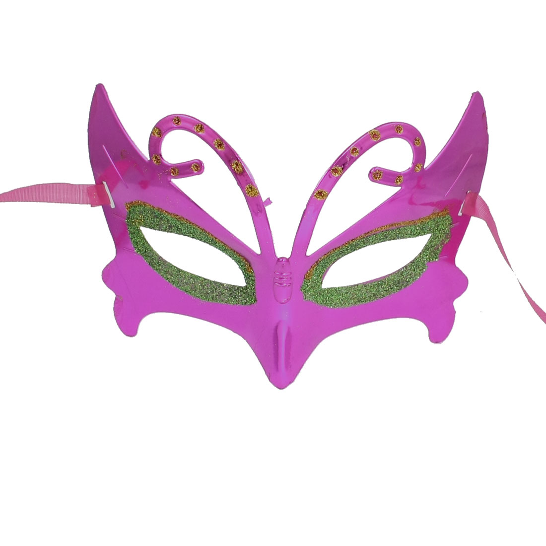 Lady Glittery Powder Detail Self Tie Fancy Party Eye Mask Magenta