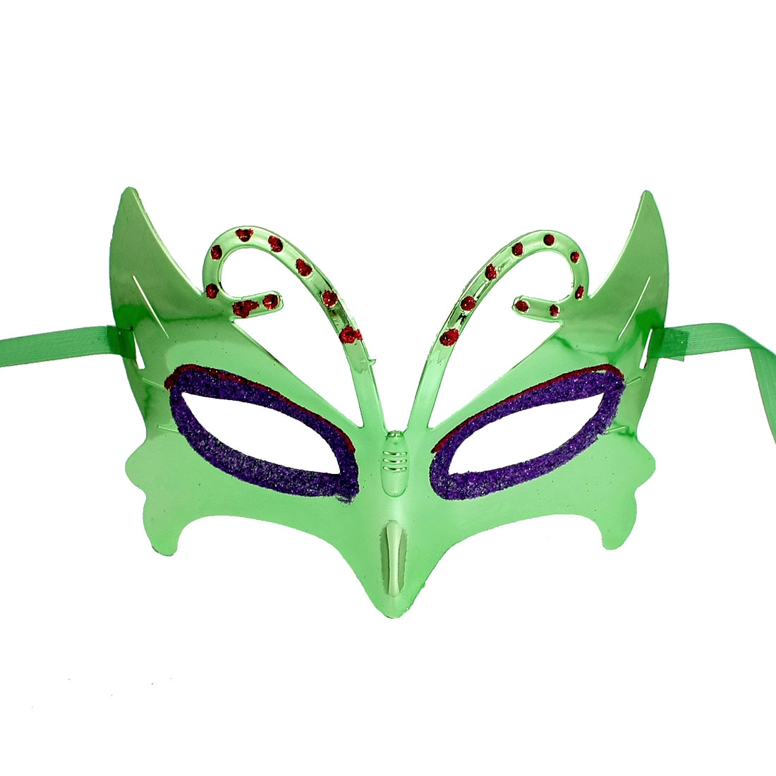 Lady Purple Glittery Powder Detail Self Tie Fancy Party Eye Mask Green
