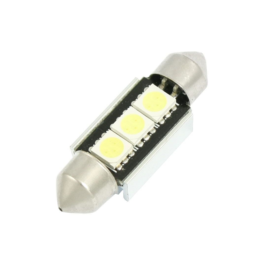 Car 5050 White SMD 3 LED Error Free Canbus License Plate Light 36mm w Heatsink
