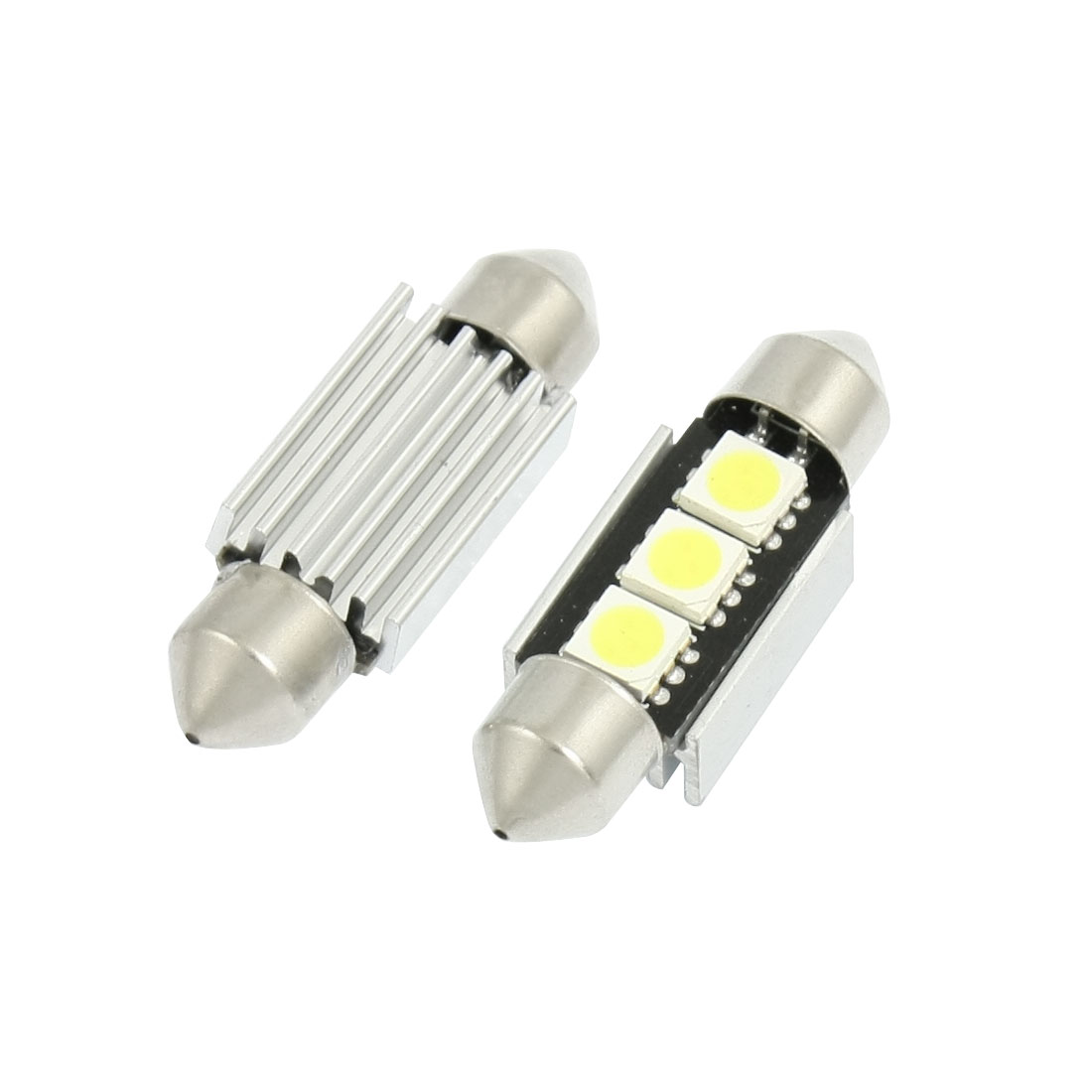 2 Pcs Car 5050 White SMD 3 LED Error Free Canbus License Plate Light 36mm w Heatsink internal