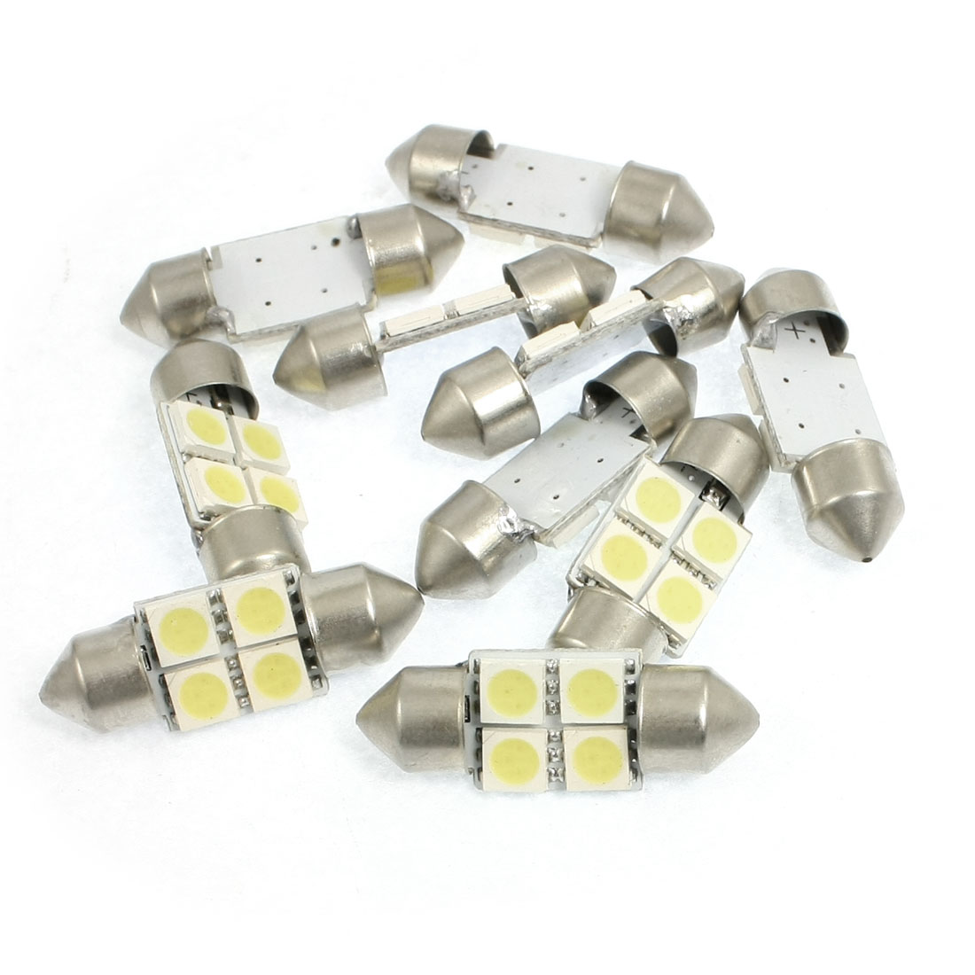 10 Pcs Car Interior White 5050 4 SMD Festoon LED Light Dome Lamp 31mm DC 12V internal