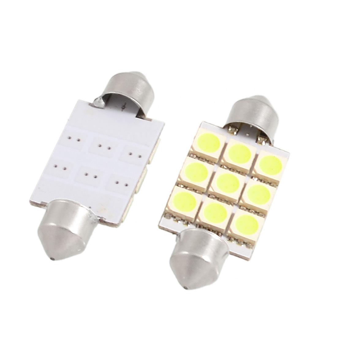 2 Pcs White 41mm 5050 SMD 9 LED Car Interior Dome Festoon Light Bulb DC 12V