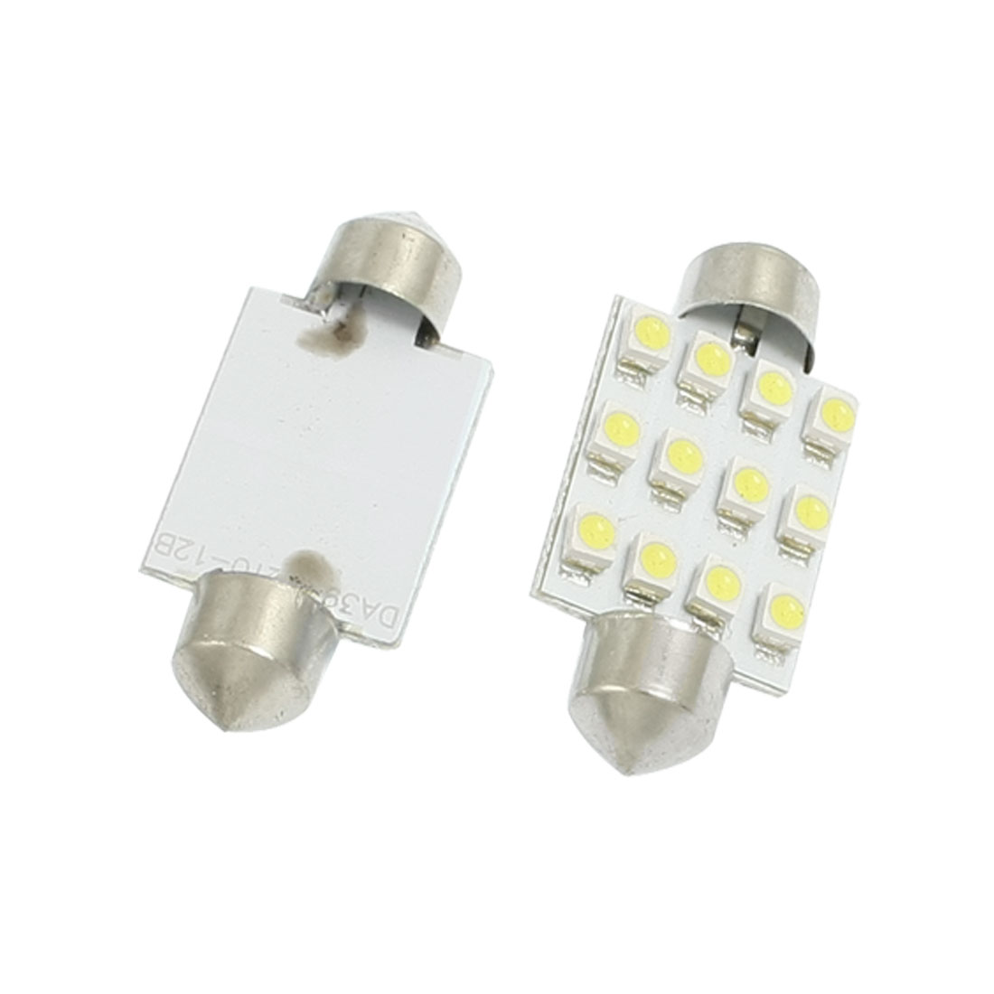 2 Pcs Car DC 12V 1210 3528 White 12 SMD Dome Festoon LED Light Lamp Bulb 39mm