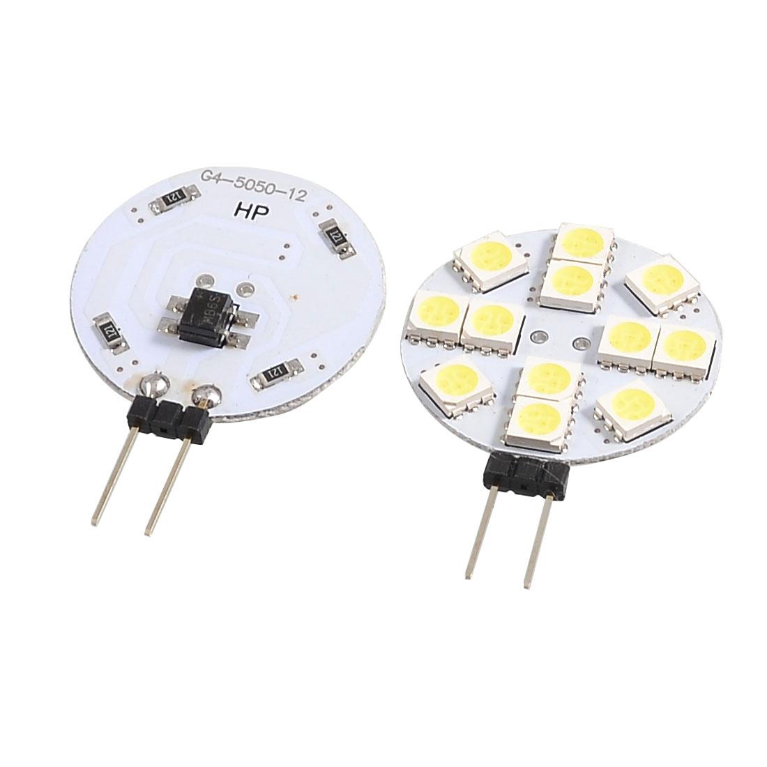 2 Pcs White G4 5050 SMD 12 LED Car Side Pin Light Bulb Lamp DC 12V internal