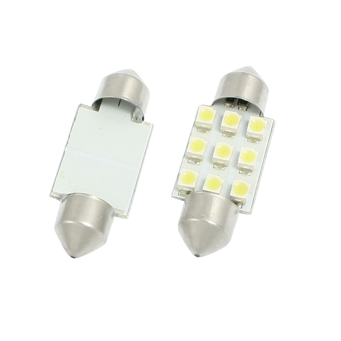 2 Pcs Car White 1210 9 SMD Festoon LED Light Dome Bulb Lamp 35mm DC 12V