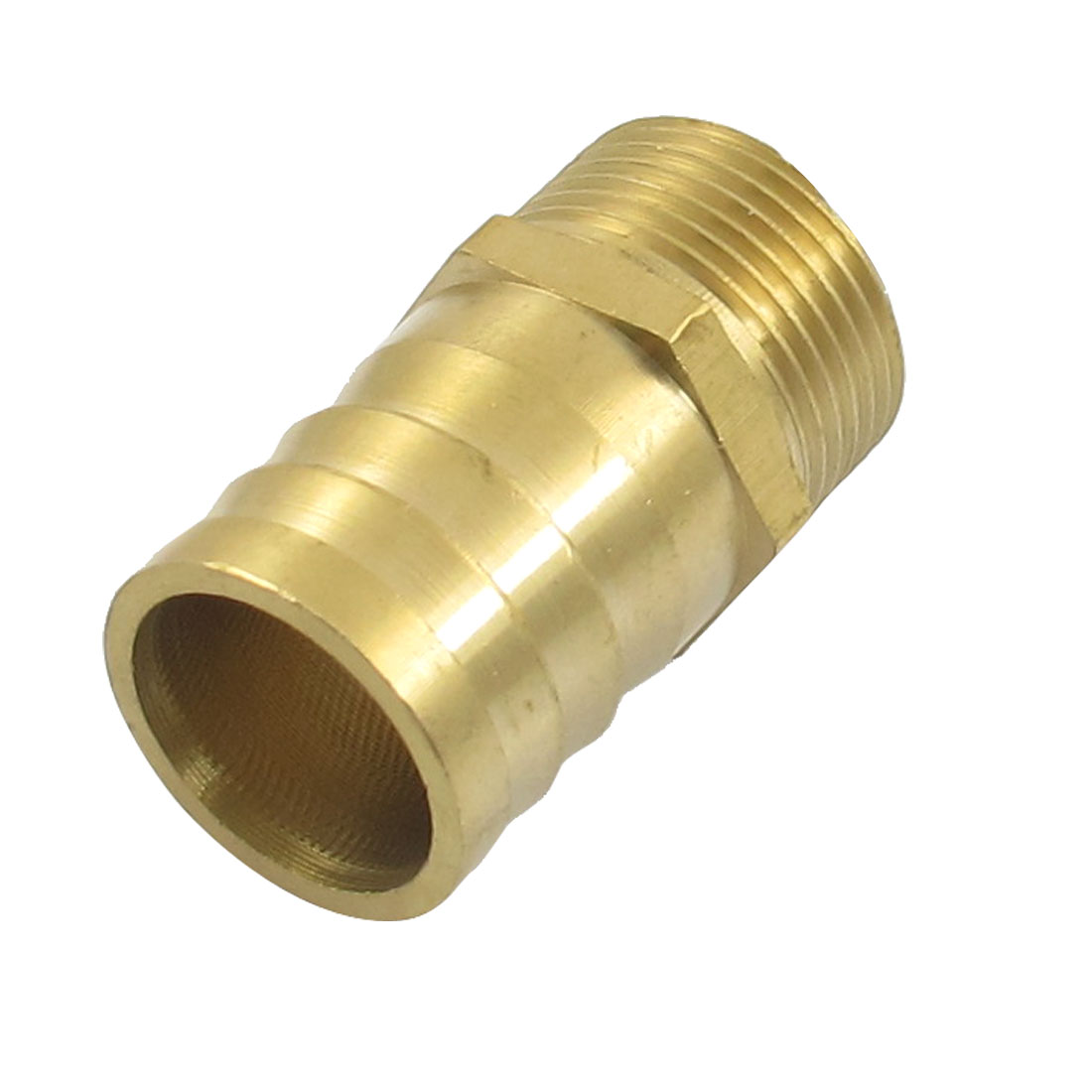 "Gold Tone Brass 32mm Fuel Gas Hose Barb 1.3"" Male Thread Coupling Fitting"