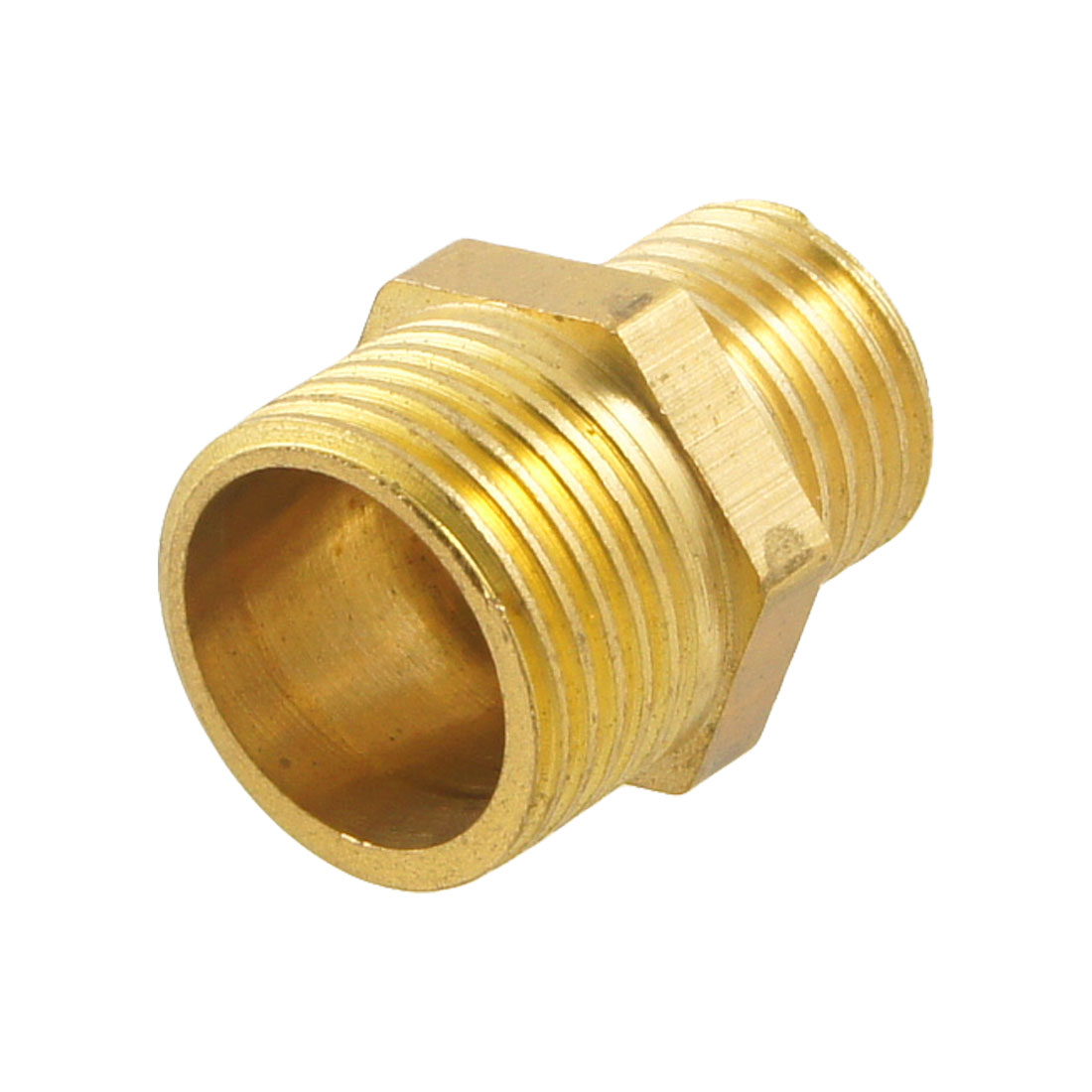 "Gold Tone Brass 3/8"" PT to 1/4"" PT Male Hex Nipple Reducing Connector Fitting"