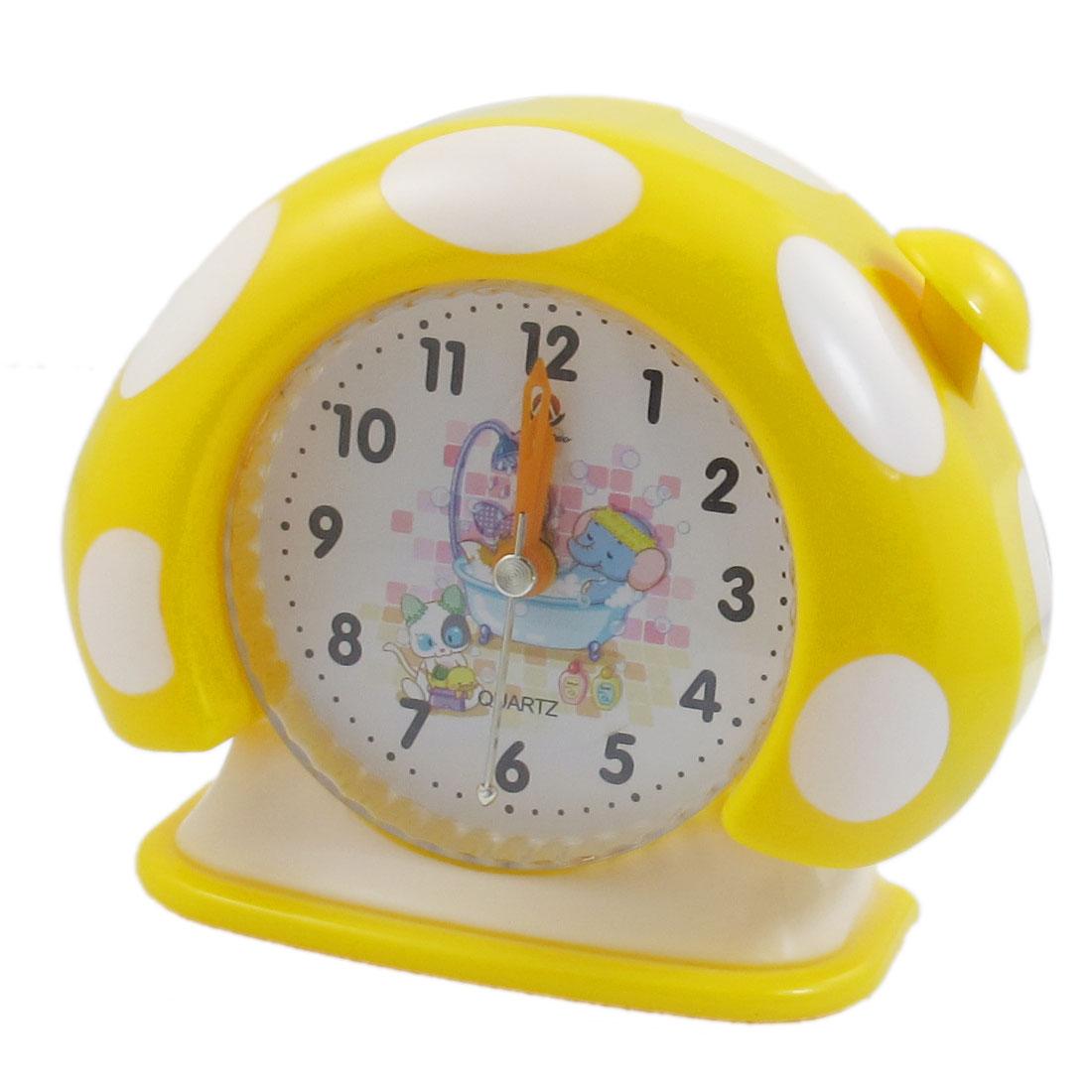 Yellow White Plastic Mushroom Shape Quartz Alarm Clock