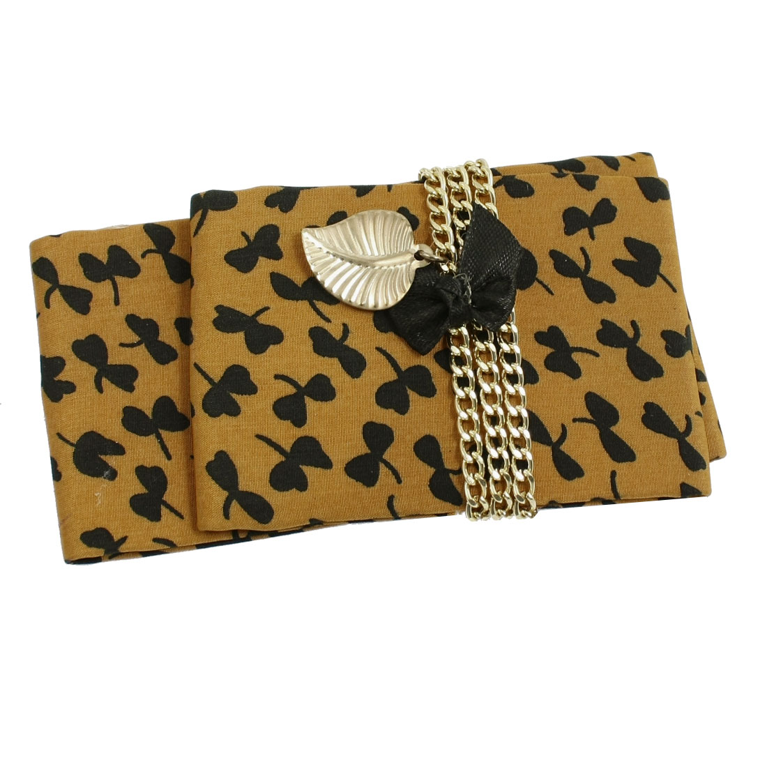Yellow Ochre Polyester Square Shape Black Butterfly Print French Clip Hairdress