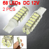 2 Pcs Car T10 W5W White 1206 SMD 68 LED Bulb Side Wedge Light Lamp