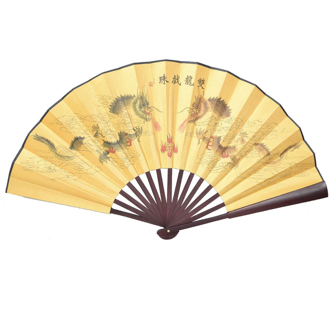 Dragon Poem Oriental Painting Rosewood Bamboo Ribs Folding Hand Fan
