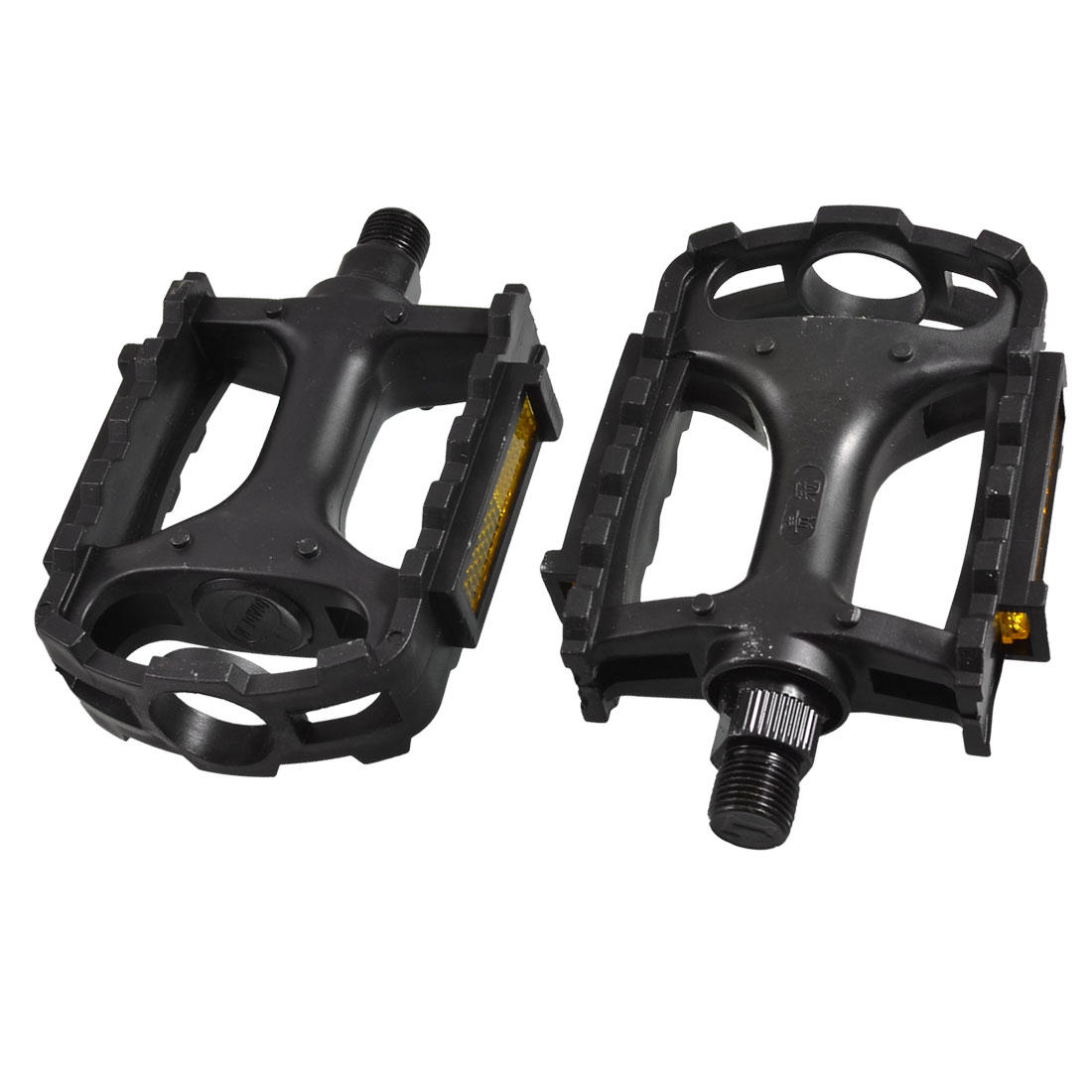 Mountain Road Bike Black Plastic Platform Pedals Parts 2 Pcs