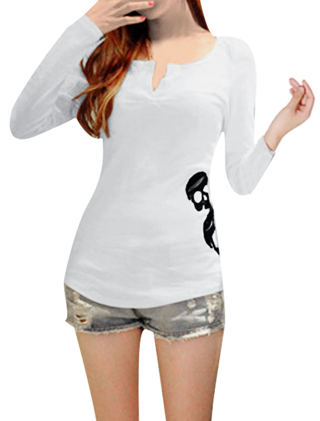Ladies Skull Printed Split Back Hem Details Stretch Ribbed White Blouse XS