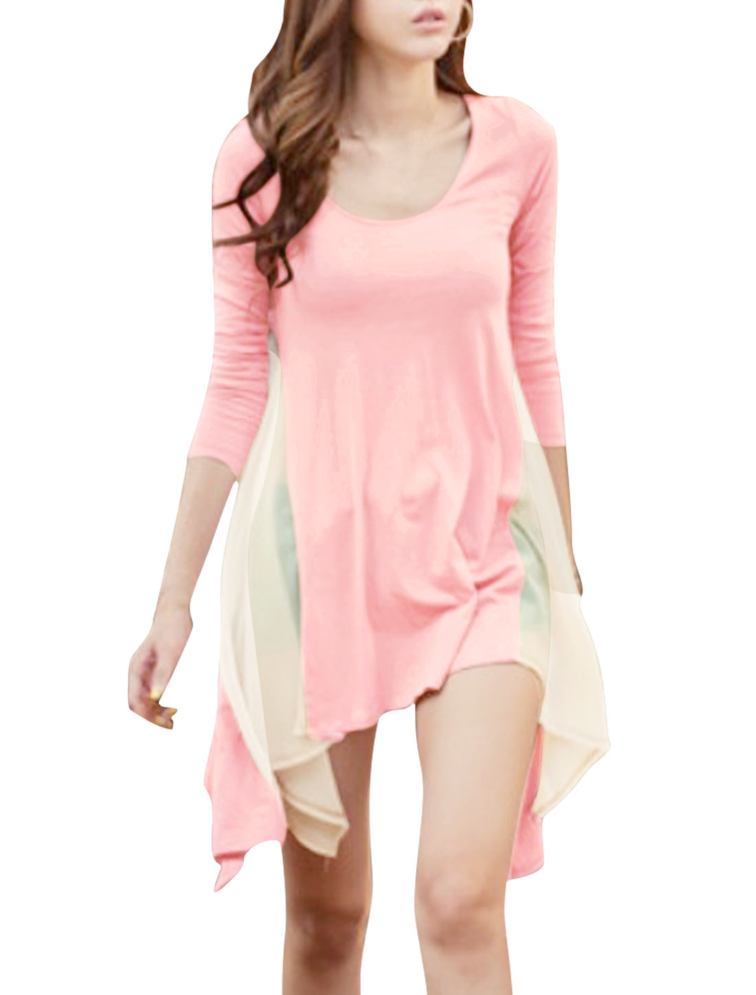 Ladies Pink Long Sleeve Irregular Hem Semi Sheer Gauze Patch Blouse S