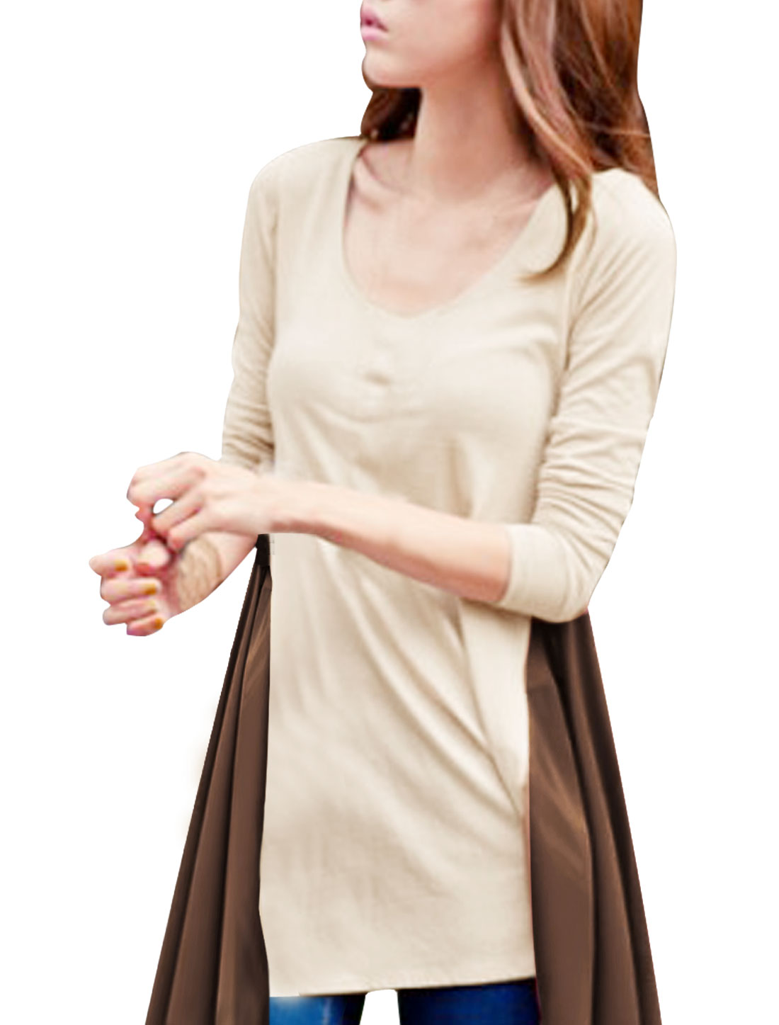 Ladies Scoop Neck Long Sleeve Irregular Hem Beige Gauze Patch Blouse XS