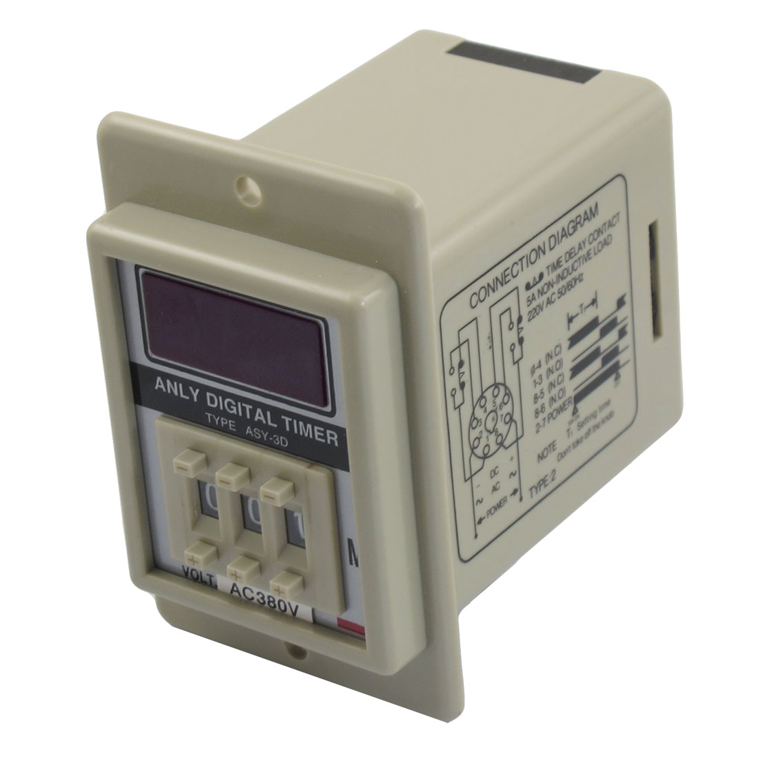 ASY-3D AC 380V 1M-999M Digital Timer Programmable Time Relay
