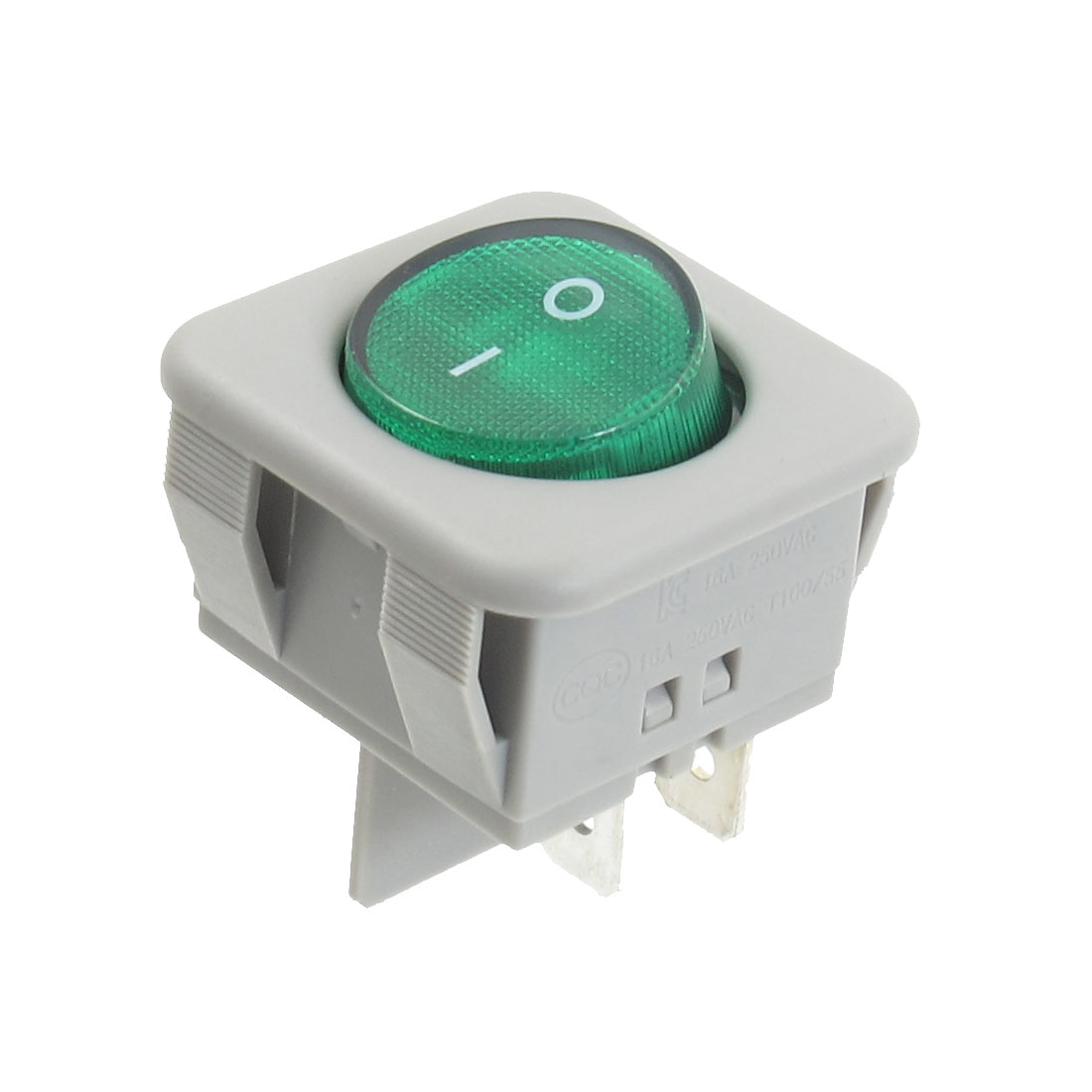 Green Light 4 Terminals ON/OFF DPST AC 250V 16A Boat Rocker Switch