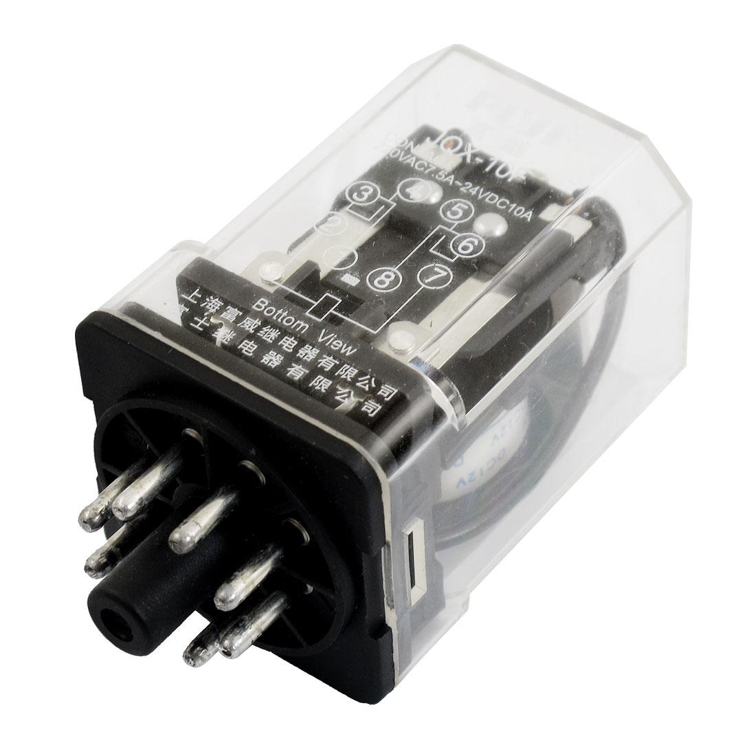 JQX-10F2Z Coil DC 12V 8 Pin AC 220V 7.5A DC 24V 10A Electronmagnetic Relay