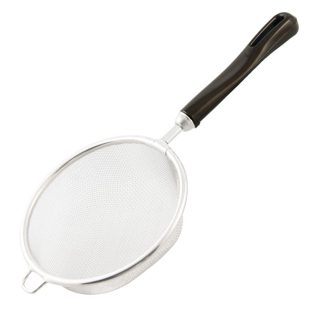 Black Plastic Handle 10cm Dia Hollow Handle Kitchen Strainer Ladle