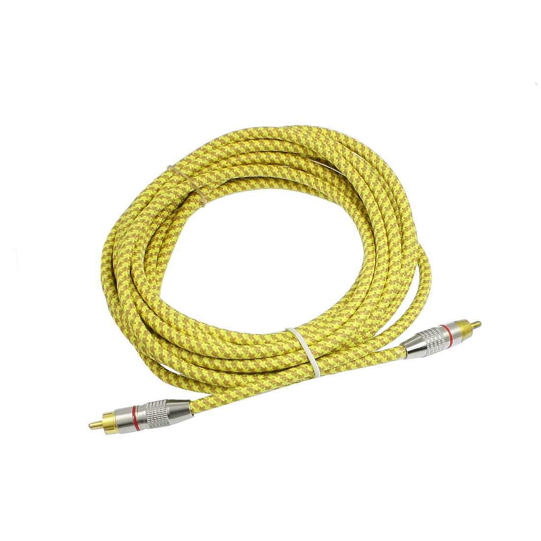 Brown Yellow RCA Male to RCA Male Connector Extension Cable Wire 5m