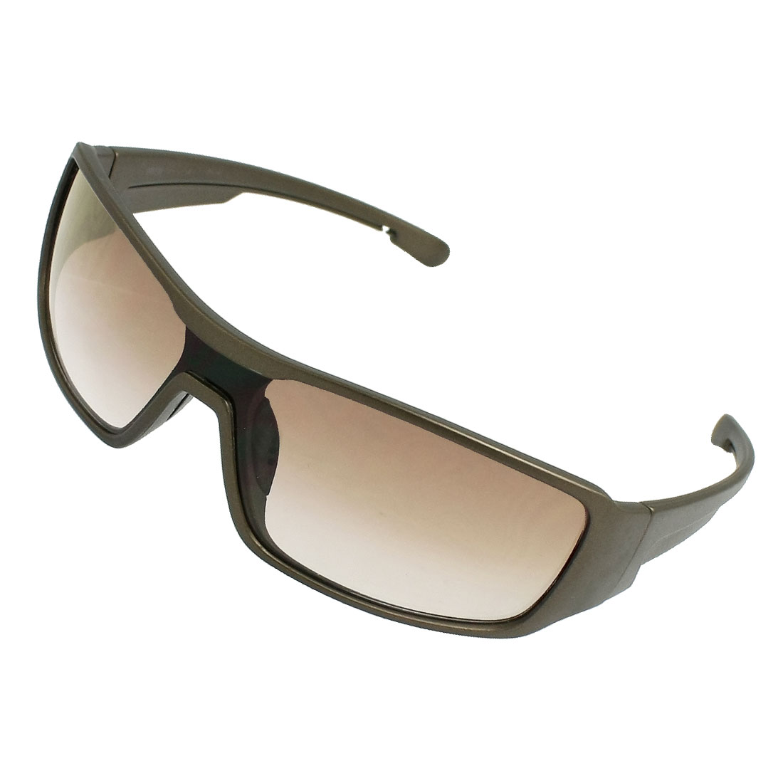 Plastic Wide Arms Rectangle Lens Sunglasses Dark Brown for Men Woman