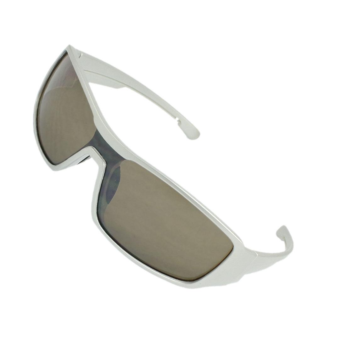 Plastic Wide Arms Rectangle Lens Sunglasses Silver Tone for Men Woman