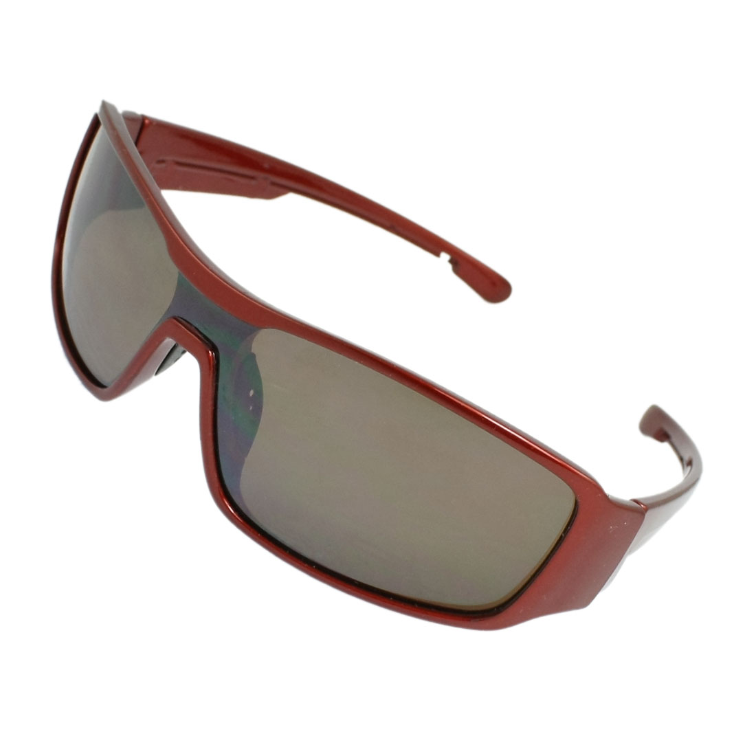 Plastic Wide Arms Rectangle Shape Lens Sunglasses Dark Red for Men Woman