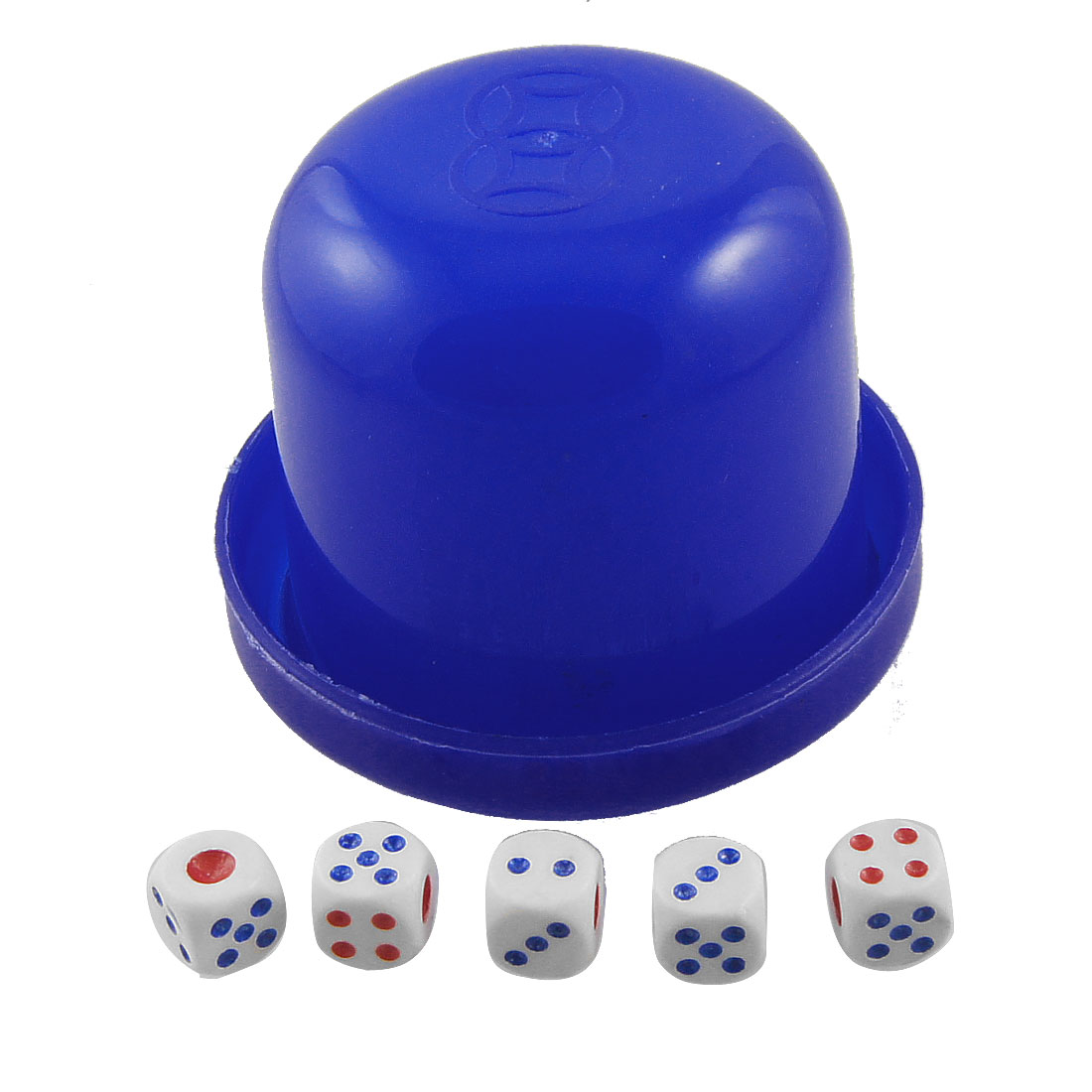 Family Party Dark Blue Plastic Dice Cup Game Toy w 5 Dices