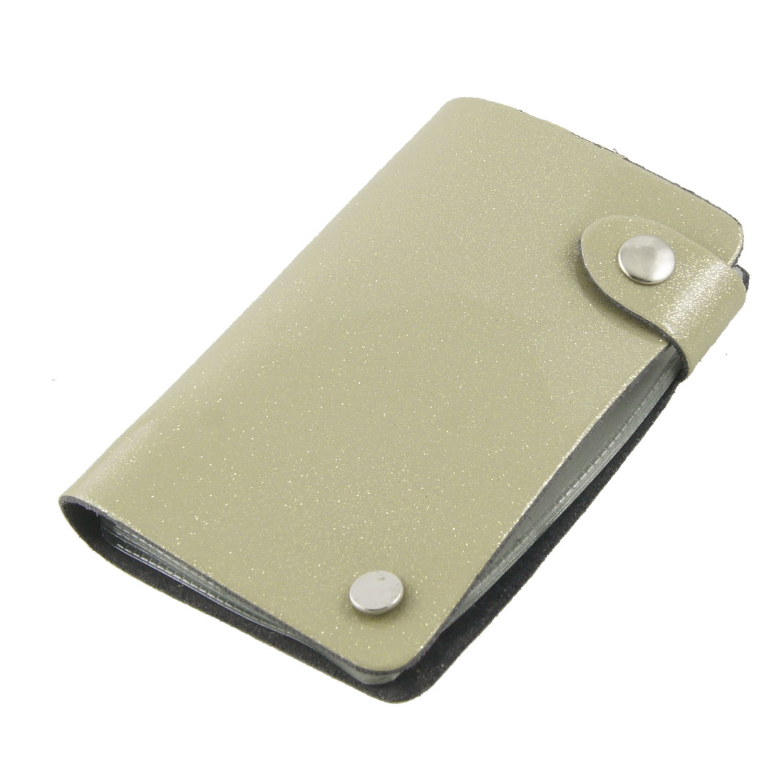 Glittery Khaki Faux Leather 10 Sheets Capacity Business Card Holder