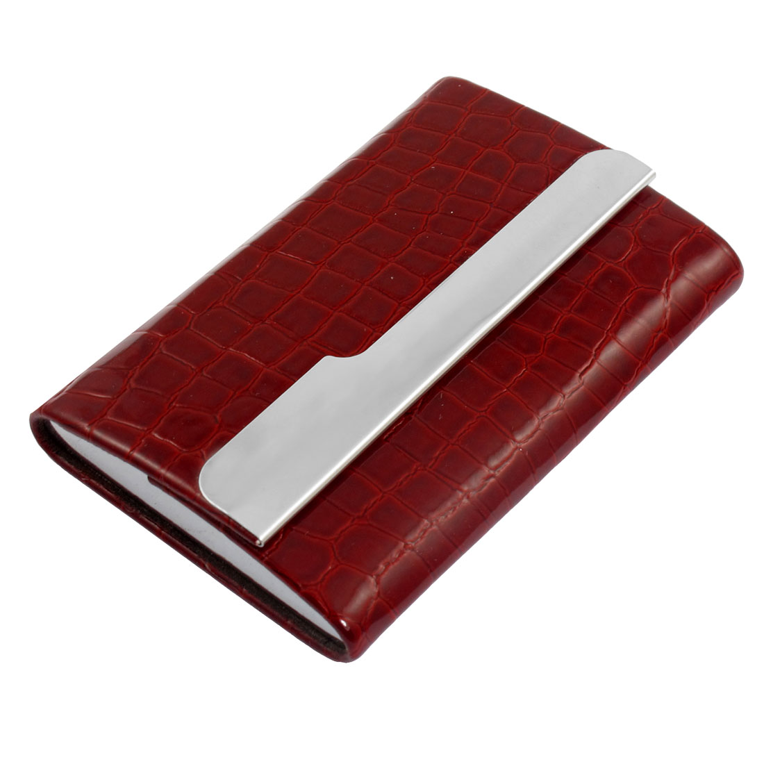 Rectangle Red Snake Pattern Metal Lining Business Name Card Case Holder