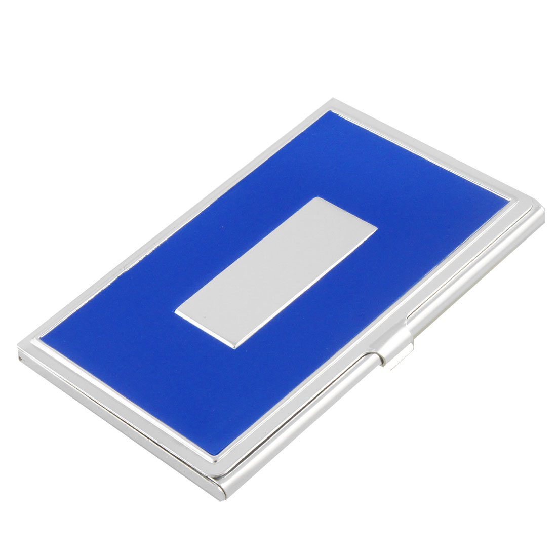 Blue Siver Tone ID Name Business Card Case Holder Clip Closure
