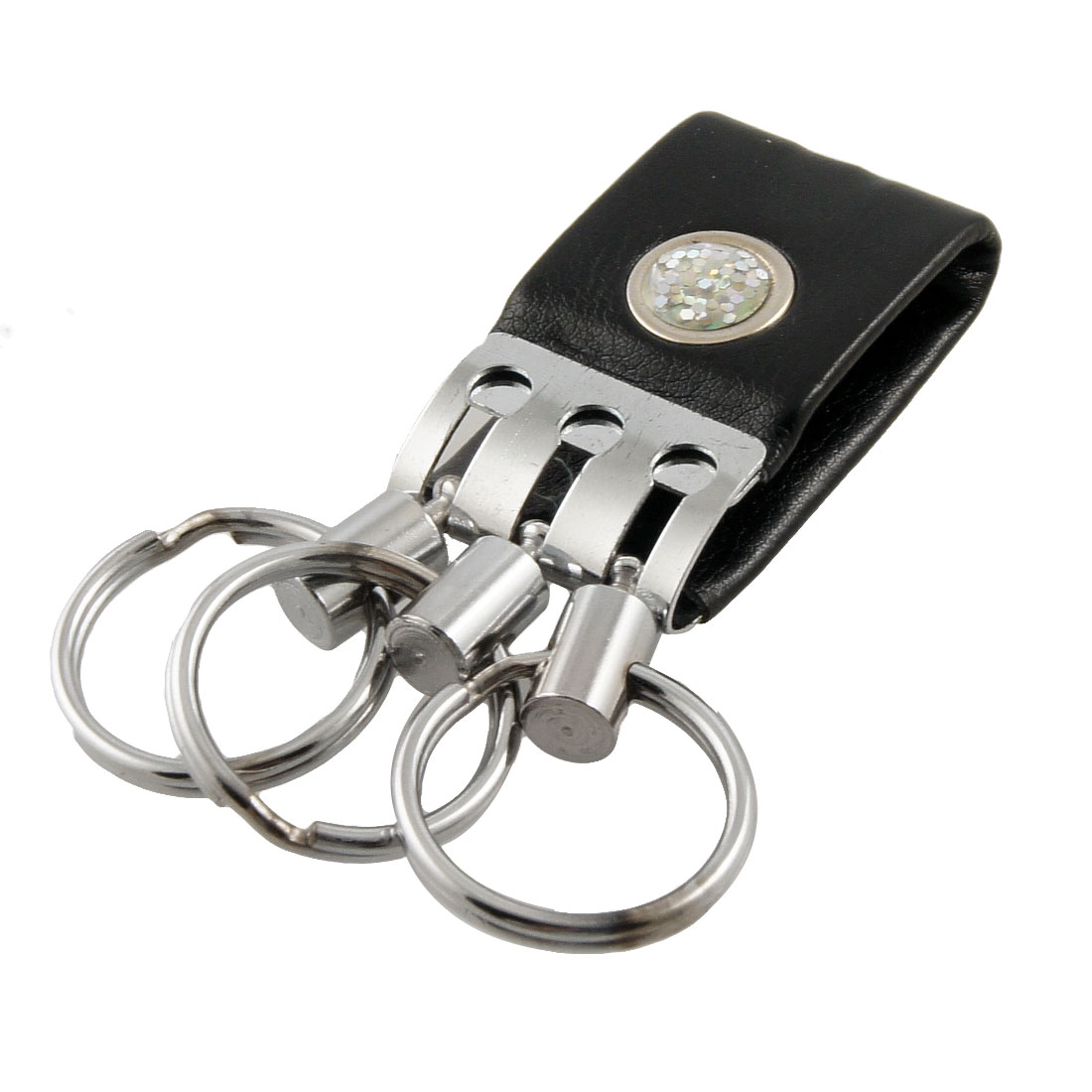 Black Faux Leather Silver Tone 3 in 1 Keyring Wide Belt Loop Key Ring