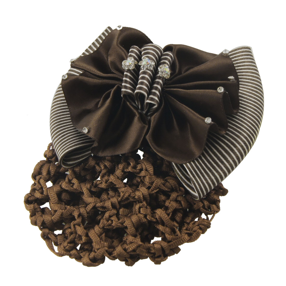 Rhinestone Detail White Coffee Color Bowknot Women Hairnet Barrette Clip