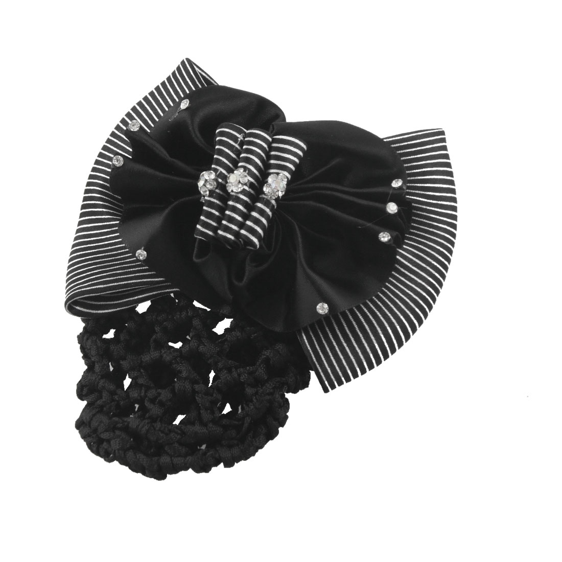 Black Flower Rhinestone Accent Blue White Striped Bowtie Hairnet Hair Clip