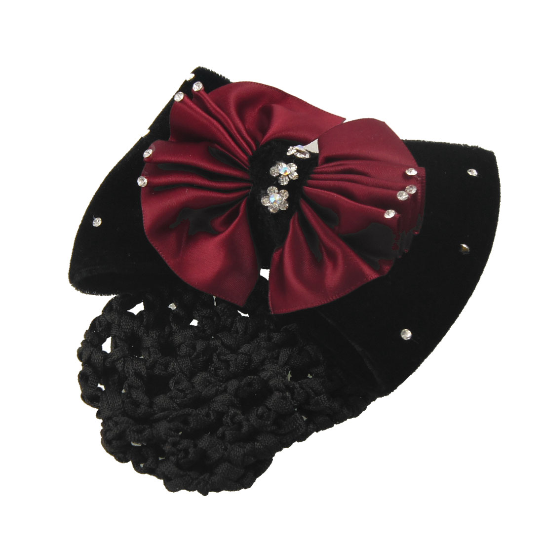 Lady Red Black Bowties Rhinestone Decor Hairnet Hairclip